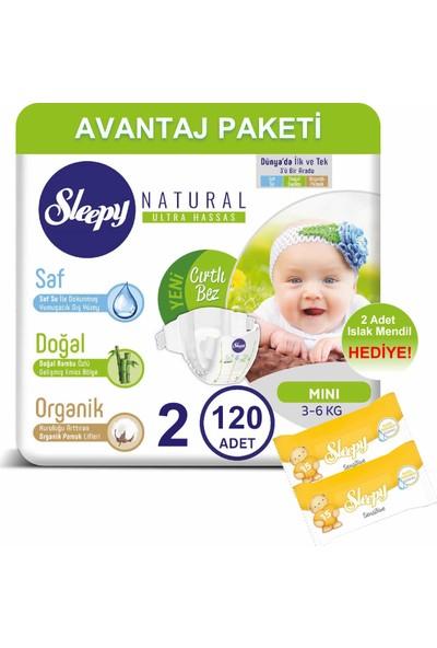 Sleepy Natural Bebek Bezi Avantaj Paketi 2 Numara 120'LI 3-6 kg + Islak Mendil