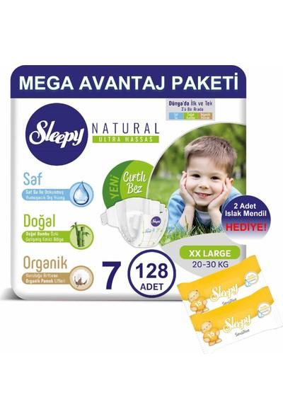 Sleepy Natural Bebek Bezi Mega Avantaj Paketi 7 Numara 128'LI 20 - 30 kg + Islak Mendil