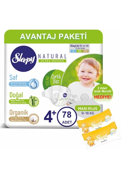 Sleepy Natural Bebek Bezi Avantaj Paketi 4+ Numara 78'li 9-16 kg + Islak Mendil