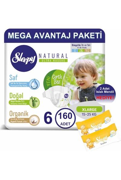 Sleepy Natural Bebek Bezi Mega Avantaj Paketi 6 Numara 160'LI 15 - 25 kg + Islak Mendil