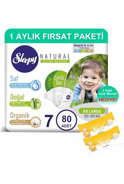 Sleepy Natural Bebek Bezi 1 Aylık Fırsat Paketi 7 Numara 80'li 20 - 30 kg + Islak Mendil