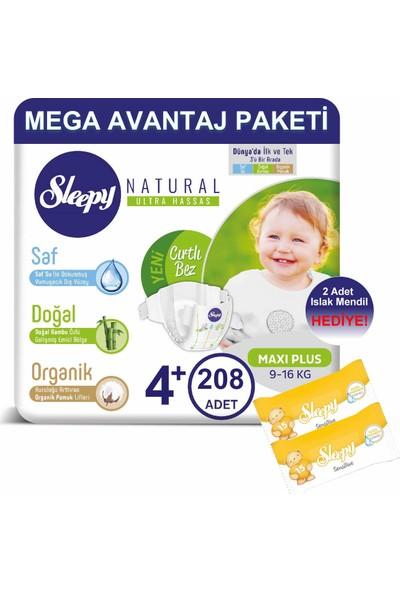 Sleepy Natural Bebek Bezi Mega Avantaj Paketi 4+ Numara 208'LI 9-16 kg + Islak Mendil
