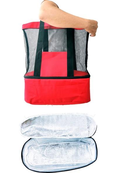 Okkored 30+15 Litre Kırmızı Soğuk Sıcak Tutucu Alüminyum Bölmeli Buzluk Kamp Piknik Plaj Çantası DF3612