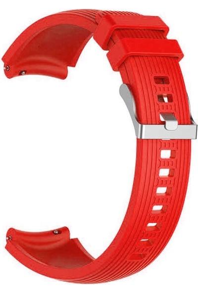 Case Street Samsung Galaxy Watch 42 mm 20 mm Kordon Silikon Kançalı Ayarlanabilir Krd 18 Kırmızı