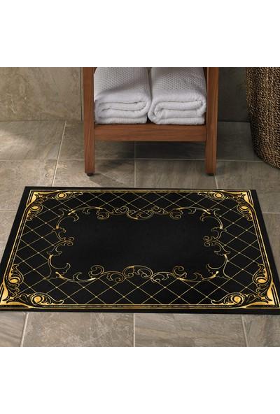 Else Siyah Altın Sarısı Vintage Klozet Banyo Paspası Saray2