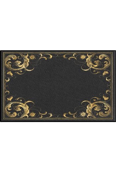 Else Siyah Altın Sarısı Vintage Klozet Banyo Paspası Saray6