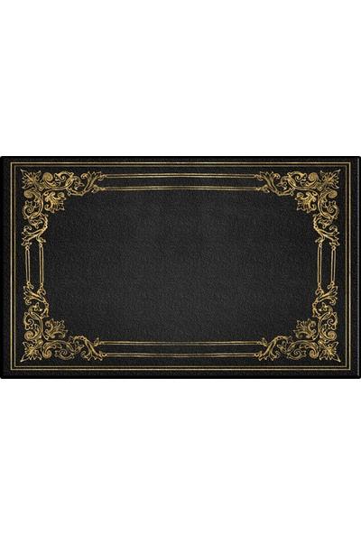 Else Siyah Altın Sarısı Vintage Klozet Banyo Paspası Saray7