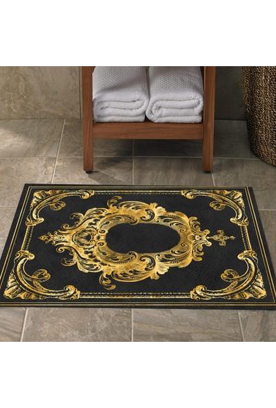 Else Siyah Altın Sarısı Vintage Klozet Banyo Paspası Saray3