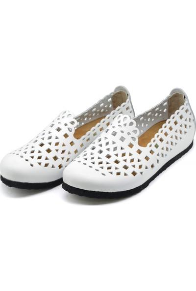 Forelli 23230 Kadın Beyaz Nubuk Mantar Ayakkabı