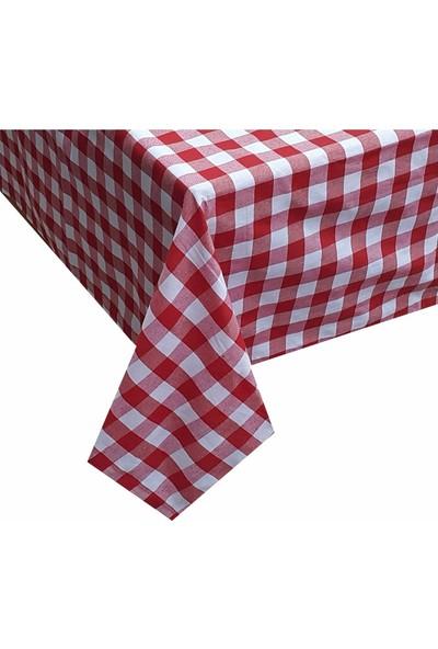 Derinteks Kareli Mutfak Masa Örtüsü Kırmızı 130 x 160
