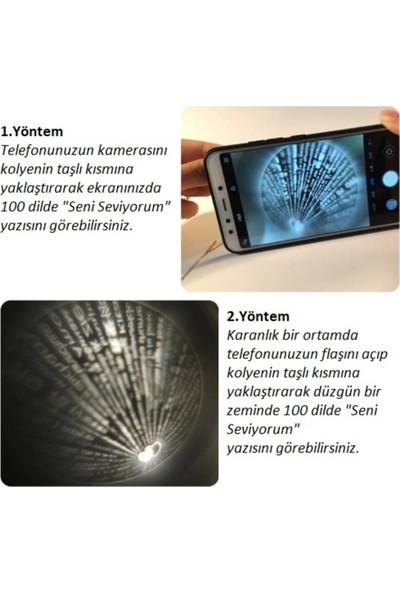 AlpCollection 100 Dilde Seni Seviyorum Gümüş Renkli Kalp Projeksiyon Kolye