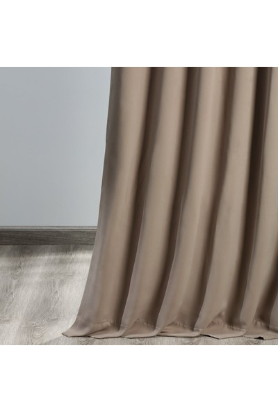 Evdepo Home Hazır Karartma Blackout Pilesiz Fon Perde Sütlü Kahve 50 x 240 cm