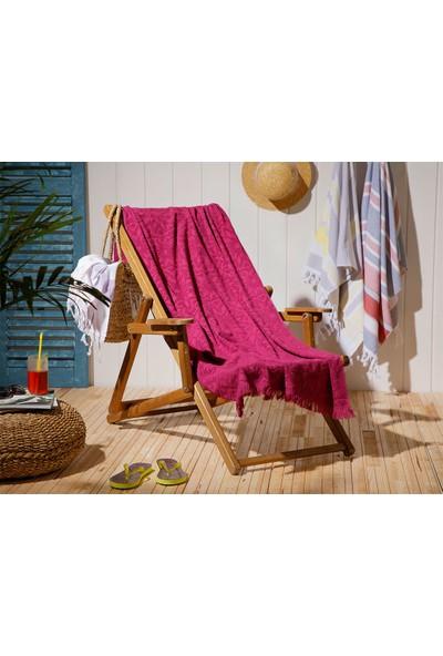 English Home Chic Damask Jakarlı Plaj Havlusu 80 x 150 cm Mürdüm