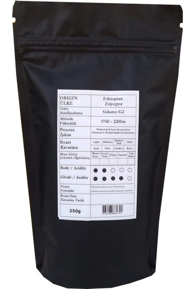 Profusion Coffee Taze Kavrulmuş Ethiopian Sidamo Filtre Kahve French Press 250 gr