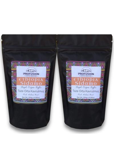 Profusion Coffee Taze Kavrulmuş Ethiopian Sidamo Çekirdek Kahve 250G x 2'li
