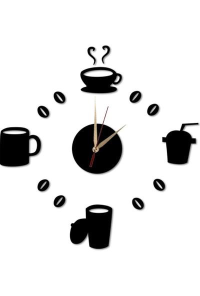 Dekolia By Foresta Lazer Kesim Ahşap Kahve Çay Fincan Temalı Siyah Duvar Saati ART1125