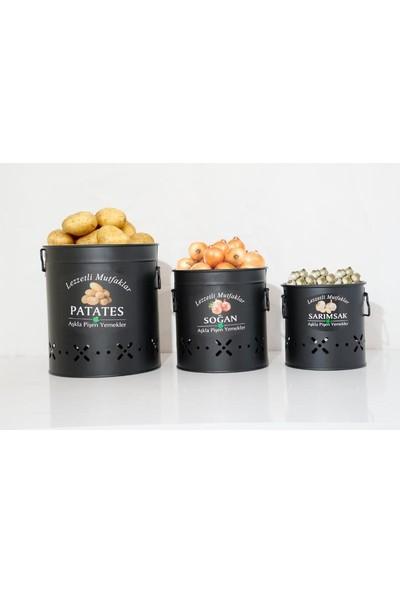 Meleni Home Siyah Metal Patates Soğan Sarımsak Saklama Kabı 3'lü