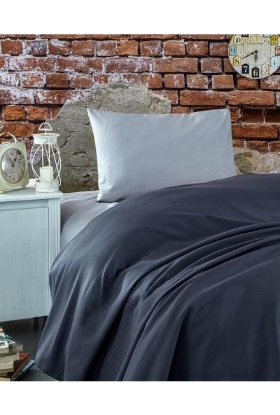 Komfort Home Tek Kişilik Ranforce %100 Pamuk Pike / Antrasit