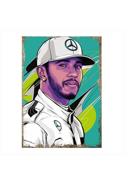 Tablomega Lewis Hamilton Desenli Ahşap Tablo