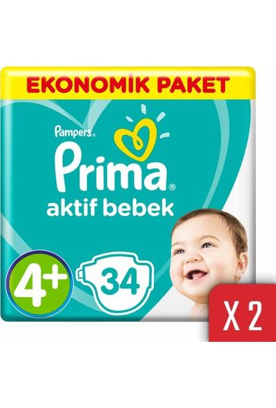Prima Aktif Bebek Bezi 4+ Beden 10-15 kg 68'li Ekonomik Paket