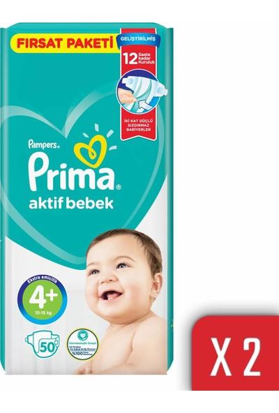 Prima Aktif Bebek Bezi 4+ Beden 10-15 kg 100'lü Fırsat Paketi
