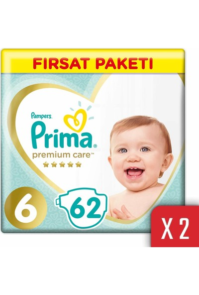 Prima Premium Care Bebek Bezi 6 Beden 13-18 kg 124'lü Ekstra Large Fırsat Paketi