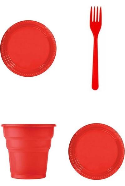 Kullan At Party Kırmızı Renk 25'li Plastik Bardak - Catal - Tabak