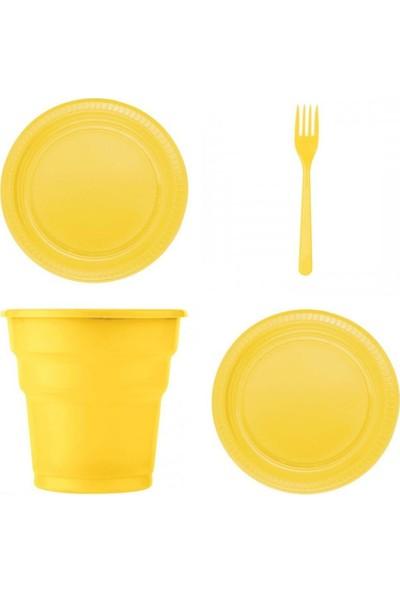 Kullan At Party Sarı Renk 25'li Plastik Bardak - Catal - Tabak