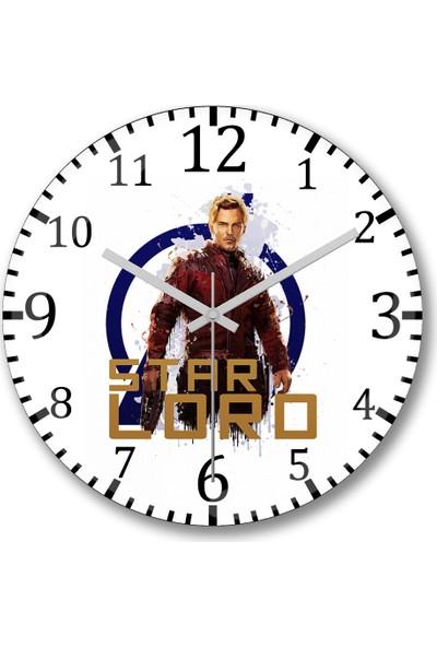 Baskı Dükkanı Avengers Star Lord Duvar Saati Bombeli Gerçek Cam