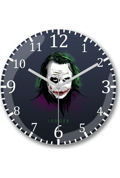 Baskı Dükkanı Joker Ledger Duvar Saati Bombeli Gerçek Cam