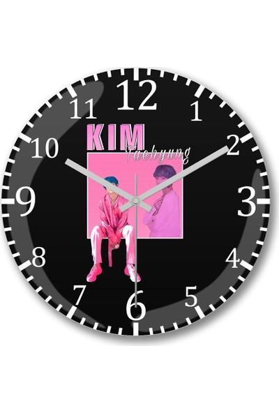Baskı Dükkanı Bts Kim Taehyung V 90S Duvar Saati Bombeli Gerçek Cam