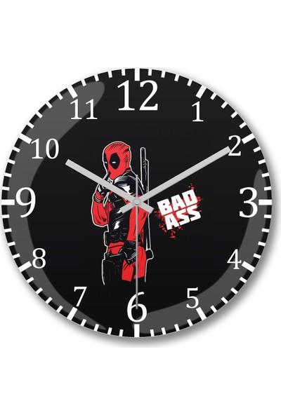 Baskı Dükkanı Deadpool Bad Ass Duvar Saati Bombeli Gerçek Cam