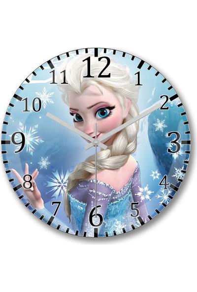 Baskı Dükkanı Frozen Elsa Duvar Saati Bombeli Gerçek Cam