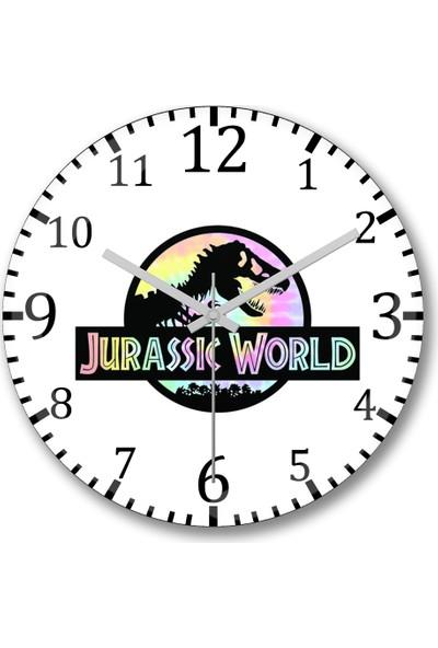 Baskı Dükkanı Jurassic World Duvar Saati Bombeli Gerçek Cam
