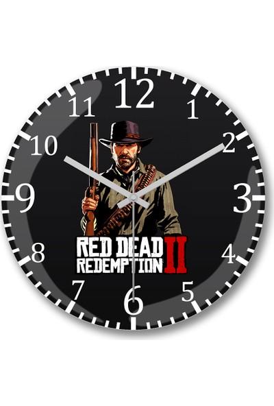 Baskı Dükkanı Red Dead Redemption 2 Arthur Duvar Saati Bombeli Gerçek Cam