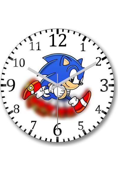 Baskı Dükkanı Sonic Film Duvar Saati Bombeli Gerçek Cam
