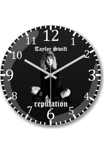 Baskı Dükkanı Taylor Swift Reputation Duvar Saati Bombeli Gerçek Cam