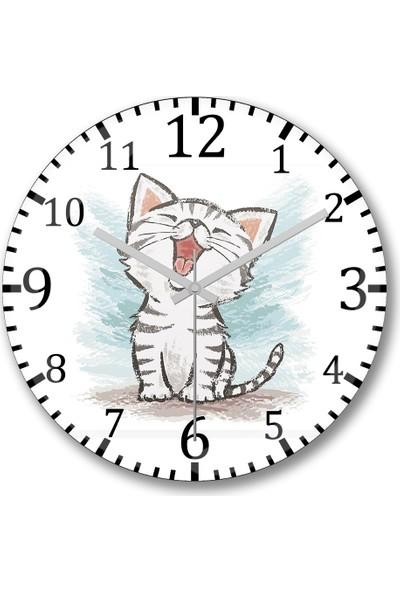 Baskı Dükkanı Yavru Renkli Cats Kedi Duvar Saati Bombeli Gerçek Cam