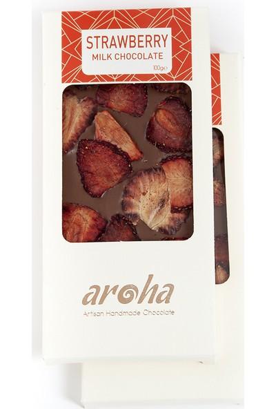 Aroha Çilekli Sütlü Çikolata - % 34 Kakao - 2'Li Set Sütlü 200 Gr