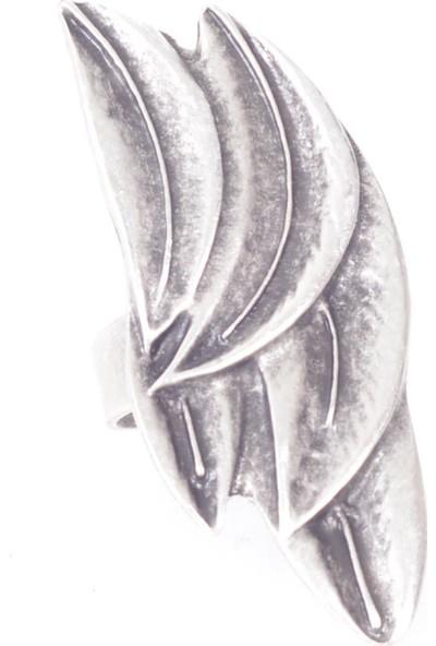 Labalaba Kadın Antik Gümüş Kaplama Yaprak Formlu Yüzük