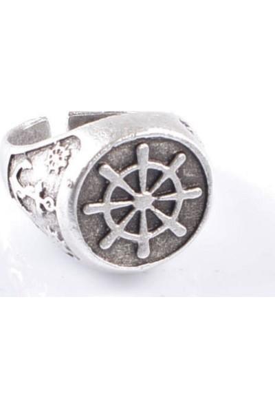 Labalaba Erkek Antik Gümüş Kaplama Gemi Dümeni Yüzük
