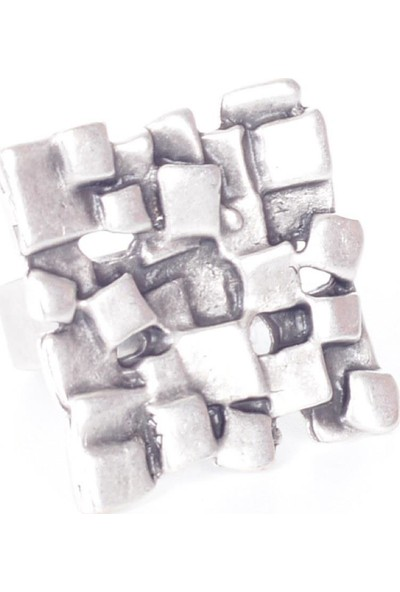 Labalaba Kadın Antik Gümüş Kaplama Kabartma Baskılı Yüzük