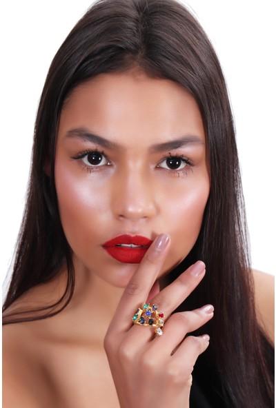 Labalaba Kadın Antik Sarı Kaplama Kristal Kesme Taş Taş Detaylı Gökkuşağı Model Ayarlanabilir Yüzük