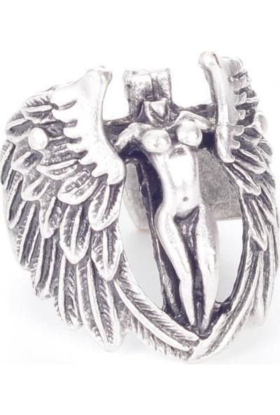 Labalaba Erkek Antik Gümüş Kaplama Gotik Kanatlı Melek Yüzük