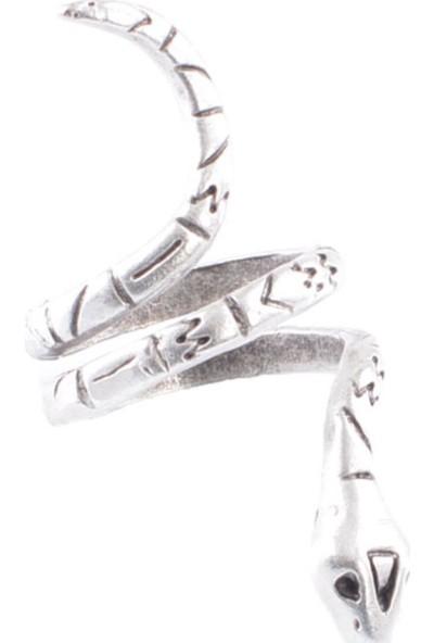 Labalaba Kadın Antik Gümüş Kaplama Baskılı Dolama Yılan Formlu Yüzük