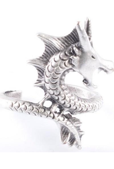 Labalaba Erkek Antik Gümüş Ejderha Yüzük