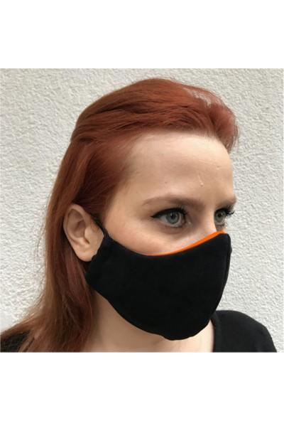 Asr 3 Katlı Yıkanabilir Koruyucu Kumaş Maske Turuncu Siyah 3 Adet
