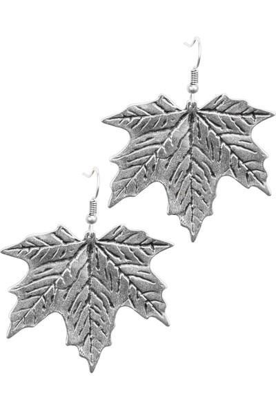 Labalaba Kadın Antik Gümüş Kaplama Yaprak Stilizesi Sallantılı Küpe