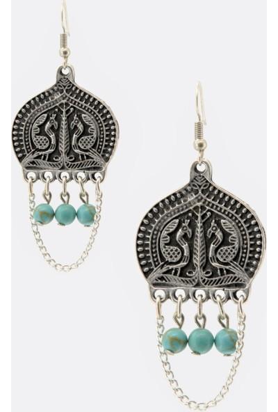 Labalaba Kadın Antik Gümüş&doğaltaş Sallantılı Küpe