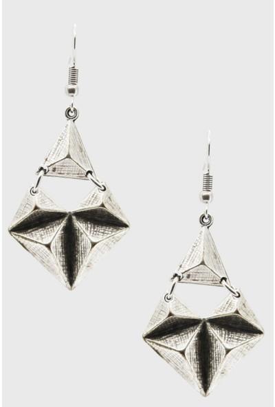 Labalaba Kadın Antik Gümüş Geometrik Küpe